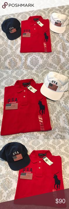 Polo Ralph Lauren Men's USA Big Pony Polo shirt Polo Ralph Lauren Men's USA flag and Big Pony logo Polo shirt. Bundle up with the USA flag hats and make it a great Memorial Day center piece!! Polo by Ralph Lauren Shirts Polos