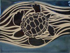 Sgraffito Sea Turtle Tile by terrapintile on Etsy