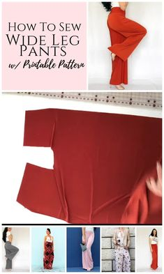 sewing clothes Sew your own DIY pants with this simple wide leg palazzo pants sewing pattern. This womens slacks pattern is perfect for beginners and comes with an easy to sew along video and written instructions. Diy Clothing, Clothing Patterns, Sewing Clothes Women, Fashion Patterns, Dress Patterns, Shirt Diy, Costura Fashion, Slacks For Women, Women Pants