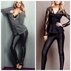 CLEARANCE Fantastic condition Victoria's Secret faux leather leggings. Back and bottom is not faux leather. See photos Victoria's Secret Pants Leggings