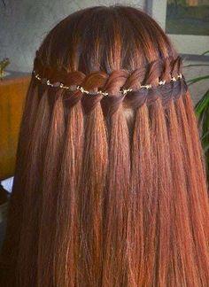 4 strand waterfall braid by Aili punupatsid ja soengud Pretty Hairstyles, Girl Hairstyles, Braided Hairstyles, Straight Hairstyles, Wedding Hairstyles, French Braid Ponytail, Braided Buns, French Braids, Messy Buns