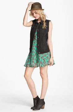 Lucca Couture Floral Dress, Leith Denim Jacket & BP. Ankle Boot  available at #Nordstrom