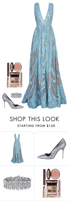 """""""Untitled #413"""" by h1234l on Polyvore featuring Elie Saab, Manolo Blahnik, Palm Beach Jewelry and Charlotte Tilbury"""