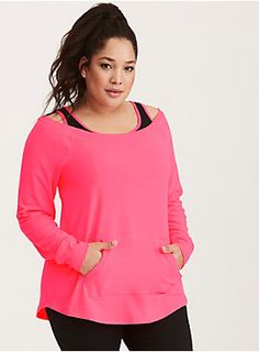 <div>Who says workout wear can't be killer fashion? We say look hot and move with comfort no matter what. Sexy. Edgy. Go for it. <b>Torrid Active - performance with attitude.</b></div><div><br></div><div>Get those steps in girl! This sexy-slouchy sweatshirt will be your motivation. The neon pink French Terry knit is lightweight but clingy thanks to ribbed trim along the hem and collar. The off shoulder sleeves make flashing some skin mandatory, while the kangaroo pocket lends versatili...