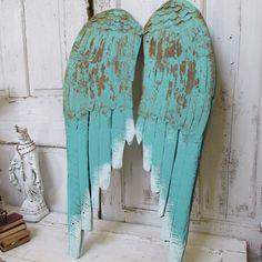 Distressed angel wings wall decor rusty aqua by AnitaSperoDesign, $195.00