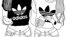 best Ideas for adidas wallpaper preto e branco Tumblr Girl Drawing, Tumblr Sketches, Tumblr Drawings, Bff Drawings, Girl Drawing Sketches, Tumblr Art, Outline Drawings, Girl Sketch, Tumblr Girly