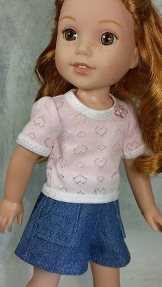 Wellie Wishers Denim Shorts and Heart Knit Top American Made