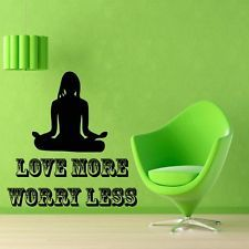 Wall Decals Quote Yoga Woman Love More.. Vinyl Sticker Murals Wall Decor KG26