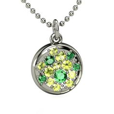 Sterling Silver Necklace with Peridot and Emerald