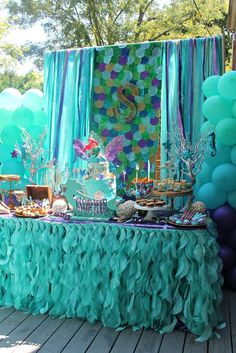 Just look at the amazing way this dessert table is decorated at this Mermaid Birthday Party?! See more party ideas at http://CatchMyParty.com