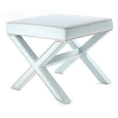 Check out this item at One Kings Lane! Palmer Ottoman, Sky Blue/Silver