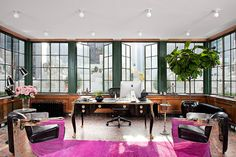 Amazing office space •Id use teal or electric blue or even White, versus Pink. :)