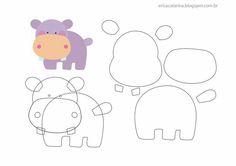 Friends of the Felt: Erica Catarina Safari Template Felt Animal Patterns, Felt Crafts Patterns, Applique Patterns, Stuffed Animal Patterns, Fabric Crafts, Animal Templates, Felt Templates, Applique Templates, Card Templates