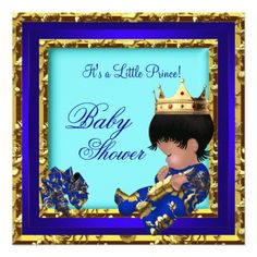 """Baby Shower Royal Blue Gold Boy crown prince 5.25"""" Square Invitation Card"""
