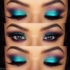 Teal and purple smokey eyes- this is stunning and a great alternative to the simple grey/silver and black!