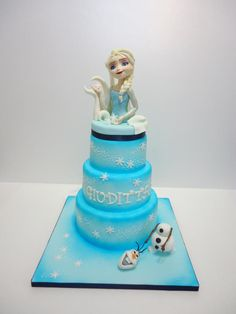 FROZEN!   cake w/ girl popping out  re: movie frozen