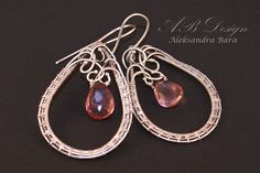 Pink Quartz  beautiful silver earrings by AleksandraBaraDesign