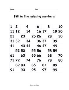 first grade math worksheets | Fill in the missing numbers