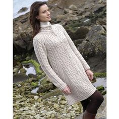 A simply gorgeous long Irish Aran cable knit women's cardigan that can be worn as a sweater or coat, great with leggings! Imported from Ireland, $132.95. Quality craftsmanship using traditional methods, durable, comfy, and warm.