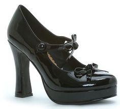 "High Heel Black 4"" Chunky Heel Shoe Bows Ellie Shoes 425-MOLLY/BLK"
