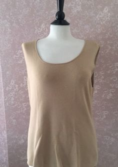 Chicos 3 Beige Knit Top Tank Top Shell Sleeveless Shell Womens 16 Large L #Chicos #KnitTop