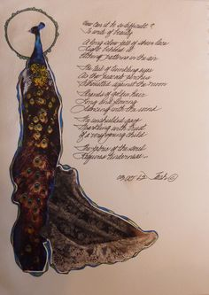 To Write of Beauty-Poetry and collage page from Book of Legend-Ravens At My Window/Roses On My Wall  2012  Deborah K. Tash