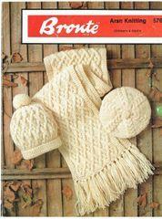 8cbeb1aa38f Bronte 576 aran scarf hat beret vintage knitting pattern ...