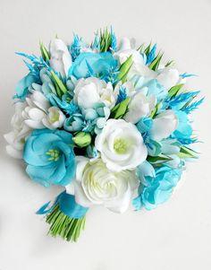 This Sky Blue wedding bouquet aqua blue bouquet aqua marine is just one of the custom, handmade pieces you'll find in our bouquets shops. Wedding Flower Guide, Blue Wedding Flowers, Blue Flowers, Wedding Bouquets, Blue Orchids, Freesia Flowers, Wedding Veils, Green Wedding, Wedding Hair