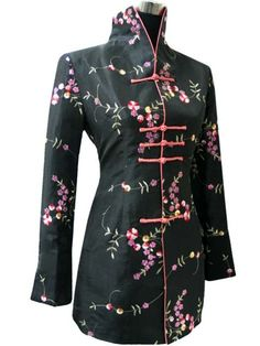 Charming Chinese Women'S Silk Embroidery Jacket /Coat Blue Sz: 8 10 12 14 16