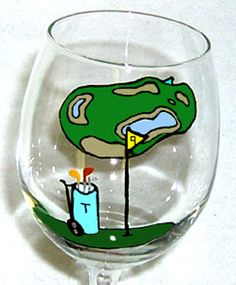 Perfect Father's Day Gift: Golfer Wine Glass Hand Painted by ConniesCreations2010 on Etsy, $13.00