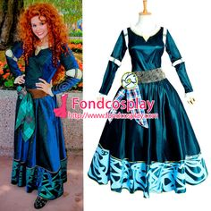 Free Shipping Disney Brave- Princess Merida dress Movie costume Cosplay…