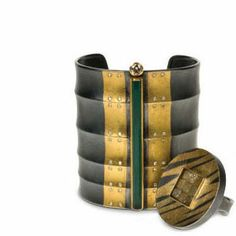 Michael Zobel- bracelet Silver, gold tourmaline(?), diamonds Ring, silver gold.  Bracelet- manchette argent et or, tourmaline et diamants(?) bague argent, or et diamants bruts(?)