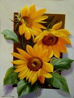 Tole Painting, Fabric Painting, Sunflower Art, Arte Floral, Painting Inspiration, Floral Arrangements, Beautiful Flowers, Decoupage, Watercolor Paintings