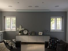 Snowman dulux and shutters Dulux Warm Pewter, Grey Feature Wall, Country Lounge, Grey Fireplace, Living Room Designs, Living Rooms, Kitchen Paint, Colour Schemes, Home Projects
