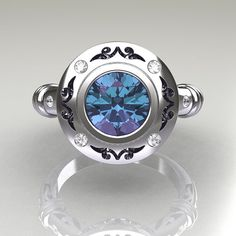 10k white gold and Alexandrite