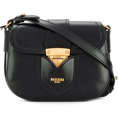 Moschino mini buckled shoulder bag (€970) ❤ liked on Polyvore featuring bags, handbags, shoulder bags, black, mini shoulder bag, top handle leather handbags, leather purses, moschino shoulder bag and mini leather handbags