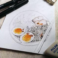 watercolor & ink, 我偶爾也是會畫鹹食啊😋 #illustration#illustrator#watercolor#paint#painting#draw#drawing#art#article#artwork#noodles#breakfast#lunch#egg#delicious#水彩#sketch#pork#ink#pencil#taipei#taiwan#winsorandnewton#手繪
