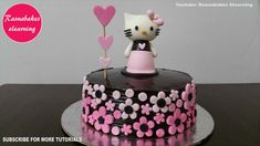 Hello kitty theme Chocolate cake decoration design for boy girl kids birthday with fondant hello kitty topper and heart stick on top and pink fondant flowers on cake. Hello Kitty Birthday Cake, Friends Birthday Cake, Pink Birthday Cakes, Frozen Birthday Cake, Happy Birthday, Simple Birthday Cake Designs, Cake Designs For Kids, Simple Cake Designs, Chocolate Birthday Cake Decoration