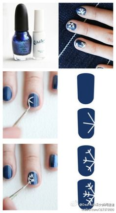 Uñas con copos de nieve // Snow flakes nails