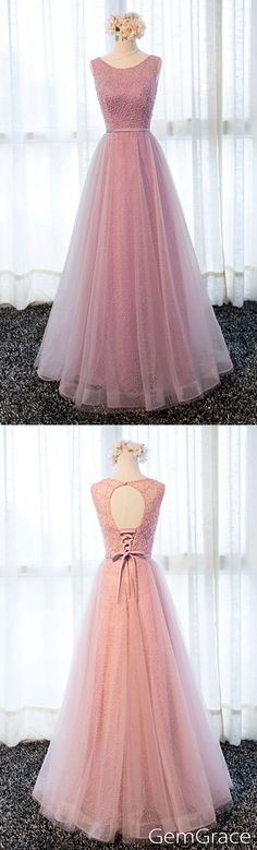 Pink lace and tulle long homecoming dress, by #GemGrace