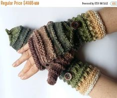 Mittens Fingerless Gloves Convertible Mittens Brown Beige Green Arm Warmers Knit Soft
