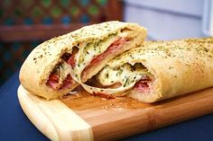Great recipe for Stromboli, similar to the recipe we have always used, but this one also comes with a bread recipe, which is helpful for those of us who don't have access to frozen bread dough.