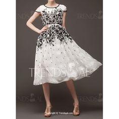 Floral Print High-Waisted Short Sleeve Round Collar Women's Dress