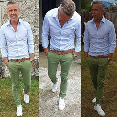 Pictures found for the query mint color chinos Znalezione obrazy dla zapytania mint color chinos Pictures found for the query mint color chinos - Old Man Fashion, Mens Fashion, Fashion Photo, Chinos Men Outfit, Stylish Men, Men Casual, Mode Man, Green Chinos, Elegantes Outfit