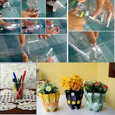 Maceteros con botella plastico