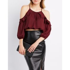 Charlotte Russe Ruffle-Trim Cold Shoulder Crop Top ($22) ❤ liked on Polyvore featuring tops, winetasting, ruffle crop top, embellished top, red top, crop top and cold shoulder tops