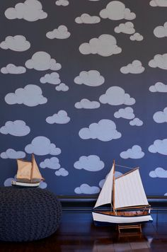 Introducing Porter's Offspring Collection, a cheerful wallpaper collection created to inspire and engage imaginations. Ideal for bedrooms and play areas these delightful designs have the scope and sophistication to be embraced by the entire family. Each design is available in a joyful palette of colours. Take a journey amongst the clouds. Accessorise with fairy wings and super hero capes as this design will transport your space to dreamy heights. Butterflies
