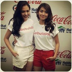 Here are Julia Montes and Kathryn Bernardo, who are BFFs, Goin' Bulilit graduates, ABS-CBN talents, and Star Magic talents, who are smiling for the camera during Coca-Cola #RebuildPH held at the Araneta Center, Quezon City last January 30, 2014. Julia and Kathryn are pretty young talented girls. #JuliaMontes #KathrynBernardo #BFFs