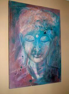 BLUE BUDDHA original painting 28 x    39 by SILKARTBYKAT on Etsy, €190.00