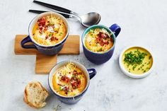 Take classic cauliflower soup to the next level by adding sweet potato, bacon and chilli. Creamy Cauliflower, Cauliflower Cheese, New Recipes, Soup Recipes, Potato Recipes, Cake Recipes, Recipies, Vegan Recipes, Easy Dinners For Kids